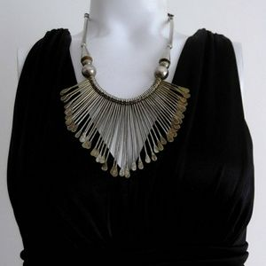 Vintage boho tribal bib fringe statement necklace